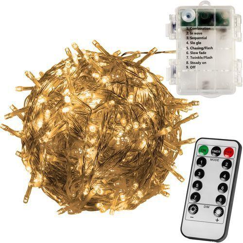 Voltronic ® Lampki choinkowe 100 diod led na baterie + pilot - ciepła biel (4048821745805)