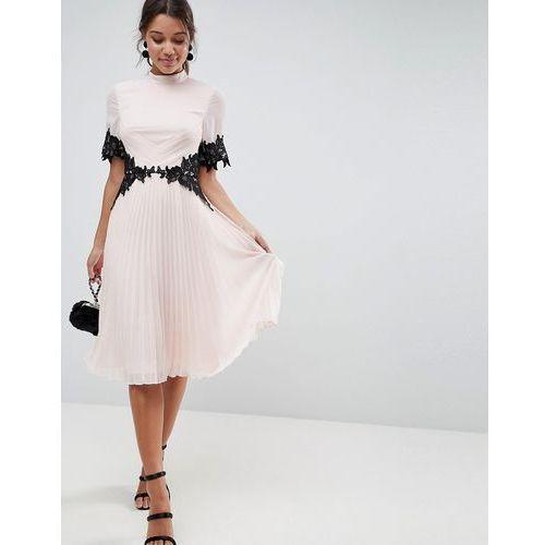 ASOS Lace Waist and Cuff Pleated Midi Dress - Pink, kolor różowy