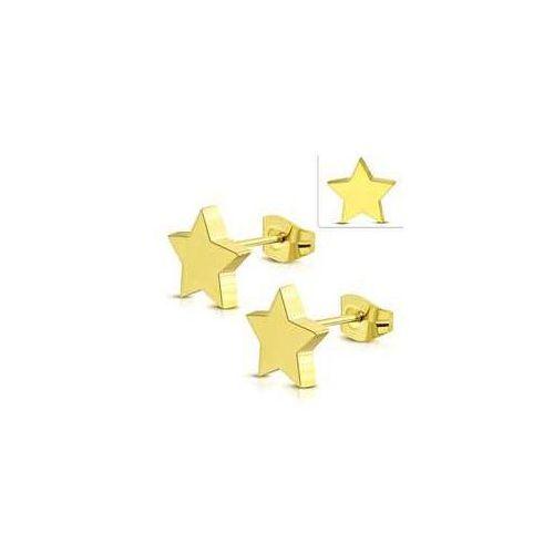 925.pl Kolczyki sztyfty gwiazdki ze stali nierdzewnej w złotym kolorze, stal 316l