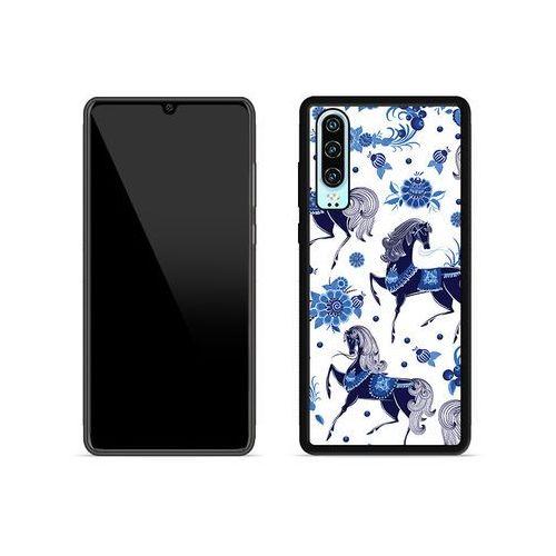 Etuo aluminum fantastic Huawei p30 - etui na telefon aluminum fantastic - folkowe niebieskie konie