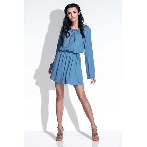 Niebieska Sukienka z Rozkloszowanymi Rękawami, kolor niebieski