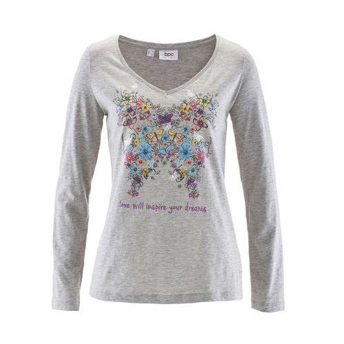 Shirt z długim rękawem bonprix jasnoszary melanż z nadrukiem, w 2 rozmiarach