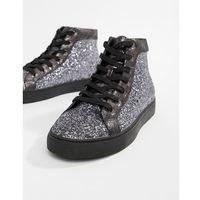 Kg kurt geiger Kg by kurt geiger parkes glitter mid top sneakers - silver