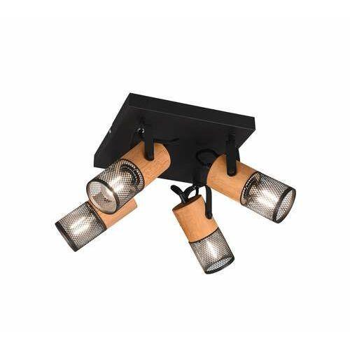 Trio Tosh 804300432 plafon lampa sufitowa 4x40W E14 czarny/drewniany, kolor Czarny