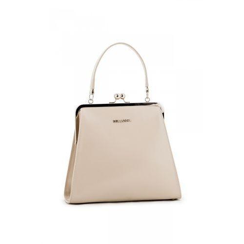 Beżowa torebka z lakierowanej skóry naturalnej - marki Franco bellucci