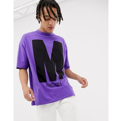Bershka Mickey Mouse oversized t-shirt in purple with front and back print - Purple, w 3 rozmiarach