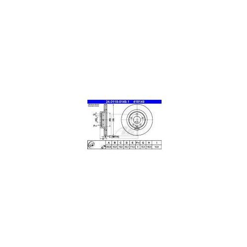 ATE Tarcza hamulcowa - 24.0118-0149 z kategorii Tarcze hamulcowe