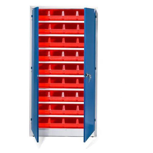 Szafa warsztatowa z pojemnikami, 36 czerwonych pojemników, 1900x1000x400 mm
