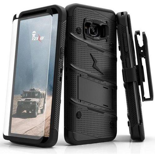 Zizo Bolt Cover - Pancerne etui Samsung Galaxy S8+ ze szkłem 9H na ekran + podstawka & uchwyt do paska (Black)
