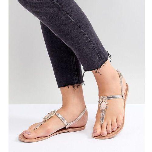 wide fit metallic embellished toe post flat sandal - gold, New look