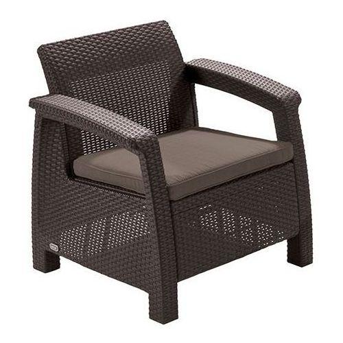 krzesło z poduszką corfu - brązowe + szaro-brązowa poduszka marki Allibert