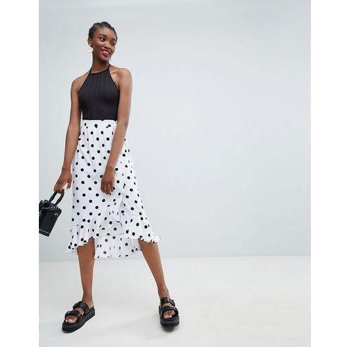Monki wrap ruffle polka dot midi skirt - white