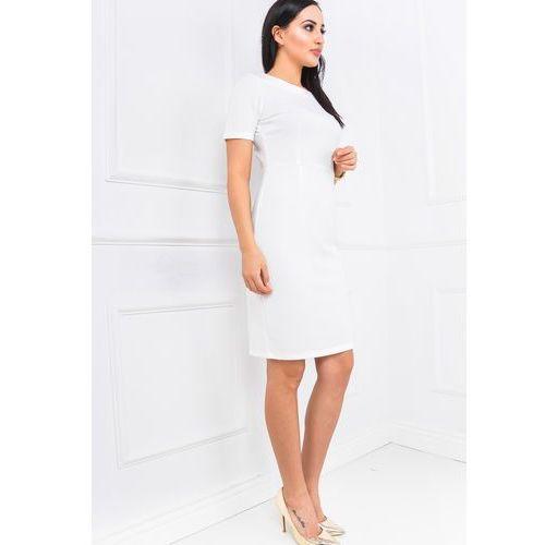 Ołówkowa sukienka z krótkim rękawem i rozporkiem marki Zoio