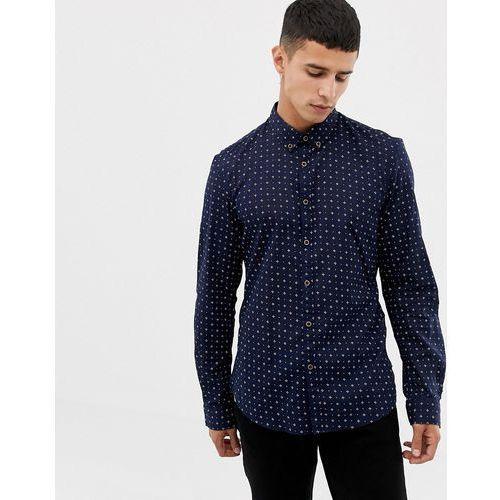 long sleeve shirt with ditsy print in navy - navy marki Tom tailor