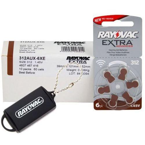 Rayovac 60 x baterie do aparatów słuchowych extra advanced 312 mf + zasobnik na baterie rayovac