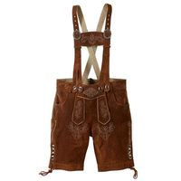 Krótkie spodnie skórzane bonprix brązowy, kolor brązowy