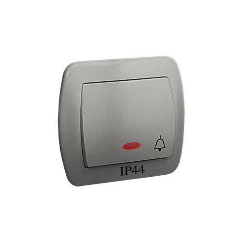 Przycisk zwierny dzwonek bryzgoszczelny z podświetleniem akord aluminium marki Kontakt_simon