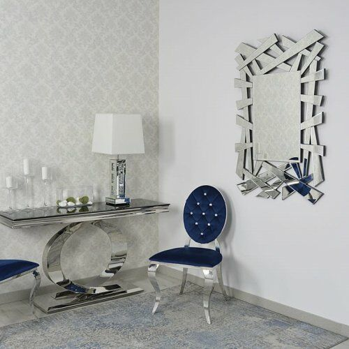 Bellacasa Srebrne lustro glamour prostokątne 80x120 cm m-0504 (5908273396279)