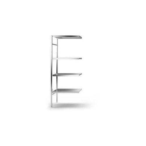 Kek Regał wtykowy ze stali szlachetnej, 4 gładkie półki,szer. półki x gł. 640 x 440 mm