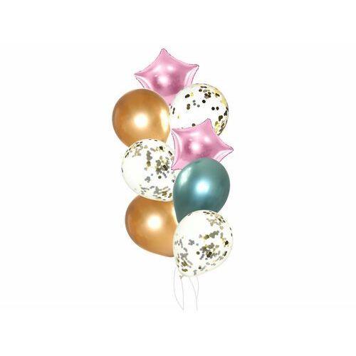 Zestaw balonów z różowymi gwiazdkami - 19 szt.