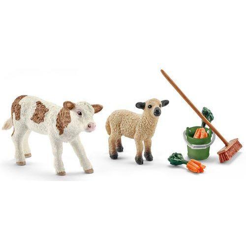 Schleich Zestaw do sprzątania stajni z cielakiem i owieczką 41422, 486457