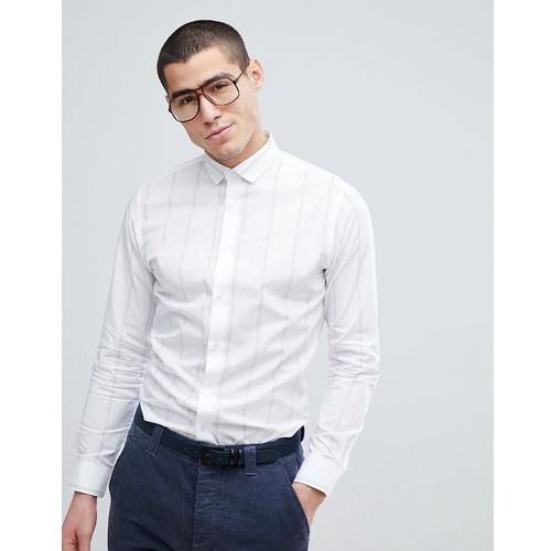 Selected Homme Slim Fit Smart Shirt With Vertical Stripe - White