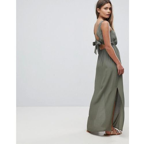 ASOS Bow Back Maxi Dress - Green, kolor zielony
