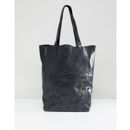Urbancode Real Leather Shopper with Tonal Beads - Black
