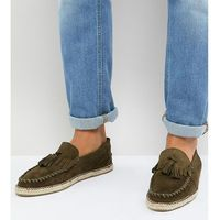wide fit tassel espadrilles in khaki suede - green, Frank wright
