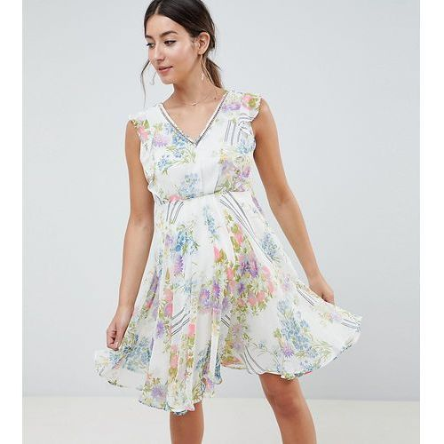 Asos maternity Asos design maternity ruffle sleeve mini dress in floral print with open back - multi