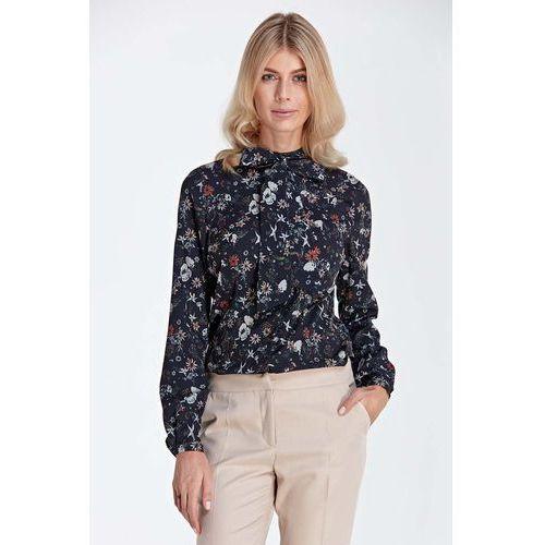 Stylowa Bluzka Koszulowa z Wiązaną Kokardą przy Dekolcie - Wzór Ecru, koszulowa