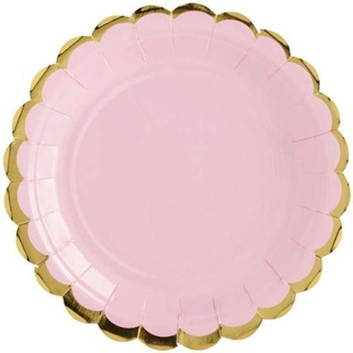 """Partydeco Talerzyki papierowe """"golden border"""", różowe jasne, , 18 cm, 6 szt"""