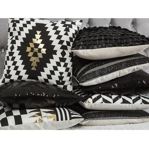 Poduszka dekoracyjna geometryczne wzory bawełniana czarna/złota 45 x 45 cm (4260624117737)