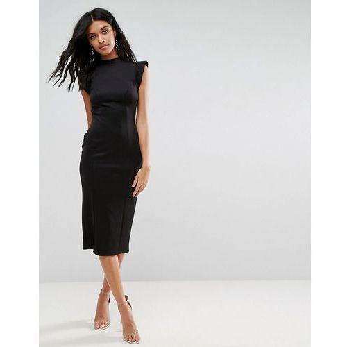 midi high neck pencil dress with cut out back and shoulder detail - black marki Asos