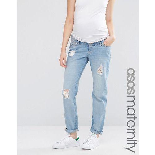 Asos maternity  brady boyfriend jeans in hiro wash with over the bump waistband - blue, kategoria: spodnie ciążowe