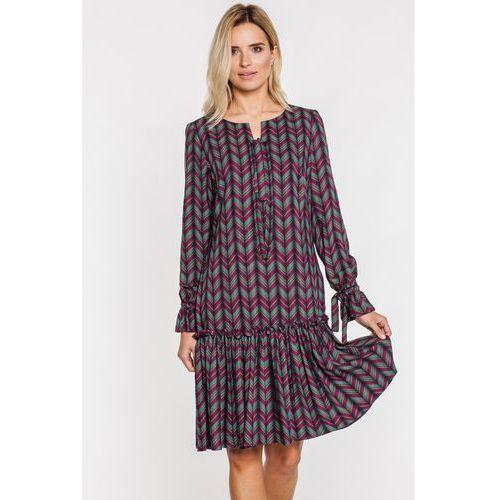 Gapa fashion Sukienka w cienki zygzak z falbaną na dole -