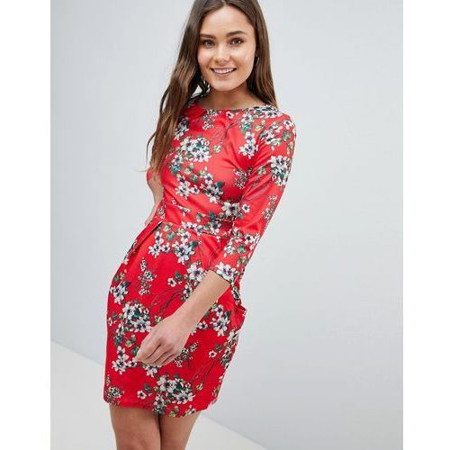 3/4 sleeve tulip dress in floral print - red, Qed london