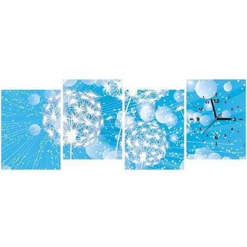 Zegar w obrazie - dmuchawce na abstrakcyjnym błękitnym tle marki B2b