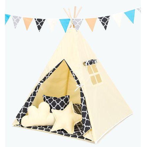 Mamo-tato namiot tipi z matą i poduszkami cytrynowy / maroko czarne
