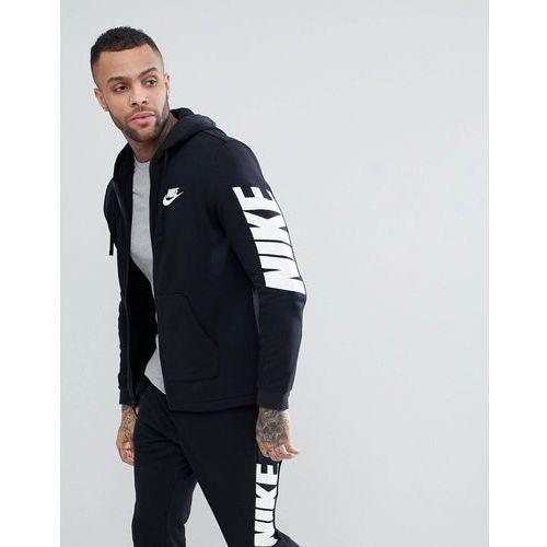 Nike hybrid zip through hoodie with sleeve print in black 885945-010 - black