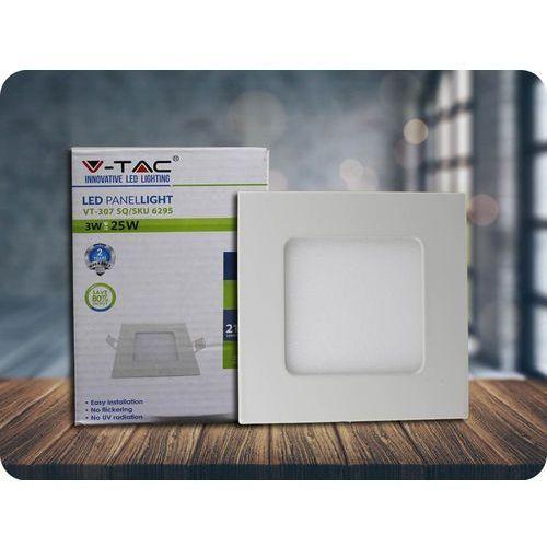 Panel LED 3W (210lm), kwadratowy + Bezpłatna natychmiastowa gwarancja wymiany! Zimna biała 6400K, 6297