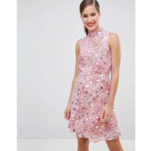high neck embellished skater dress - pink marki River island