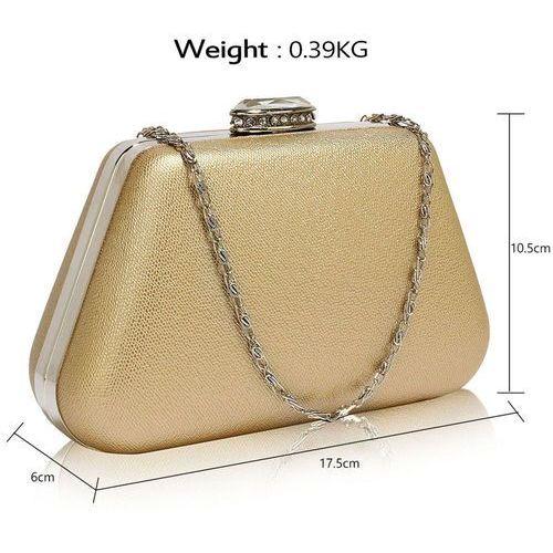 OKAZJA - Wielka brytania Złota torebka wizytowa na wesele z kryształowym zamknięciem - złoty