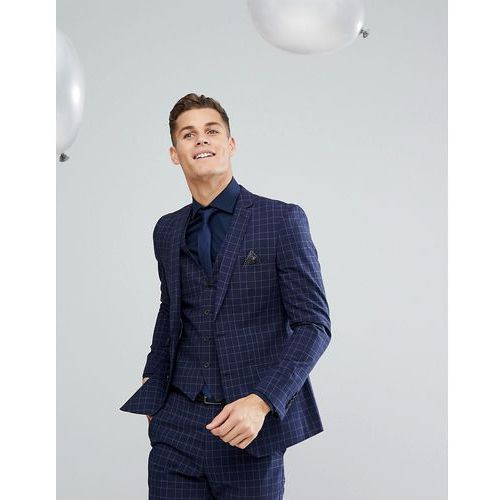 French Connection Skinny Wedding Suit Jacket in Grid Check - Navy