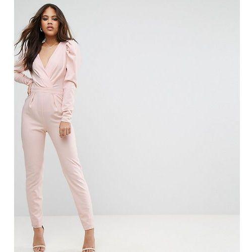 sleeve detail wrap jumpsuit - pink marki Asos tall