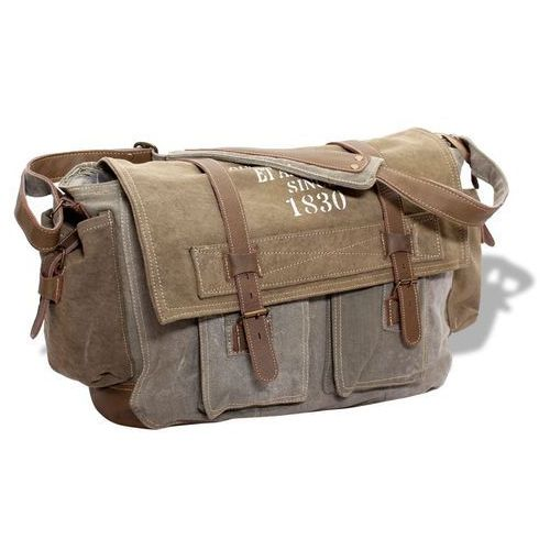 Vidaxl torebka na ramię płócienno-skórzana, ciemnozielona (8718475510468)