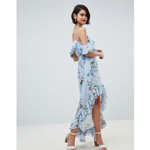 River Island Floral Print Cold Shoulder Midi Dress - Blue