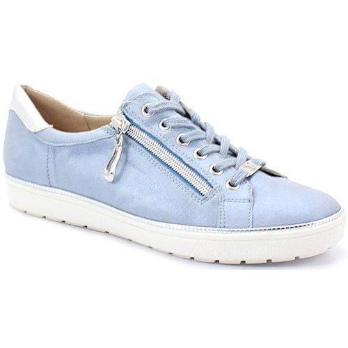 Caprice 9-23606-22 niebieskie - trampki skórzane - niebieski ||srebrny