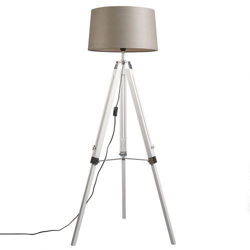 Qazqa Lampa podlogowa tripod biala z kloszem 45cm lniany, szarobrazowy