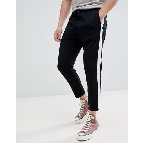 Pull&bear trousers with side stripe in black - black